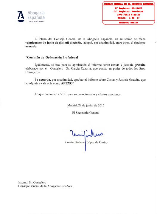 Informe Costas Justicia Gratuita